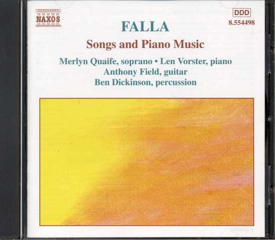 Manuel de Falla / Songs and Piano Music / Len Vorster / Merlyn Quaife