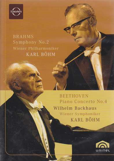 Ludwig van Beethoven / Piano Concerto no. 4 in G major (Op. 58)  & Johannes Brahms Symphony 2 in D major (Op. 73) / Wilhelm Backhaus / Wiener Philharmoniker / Karl Böhm DVD